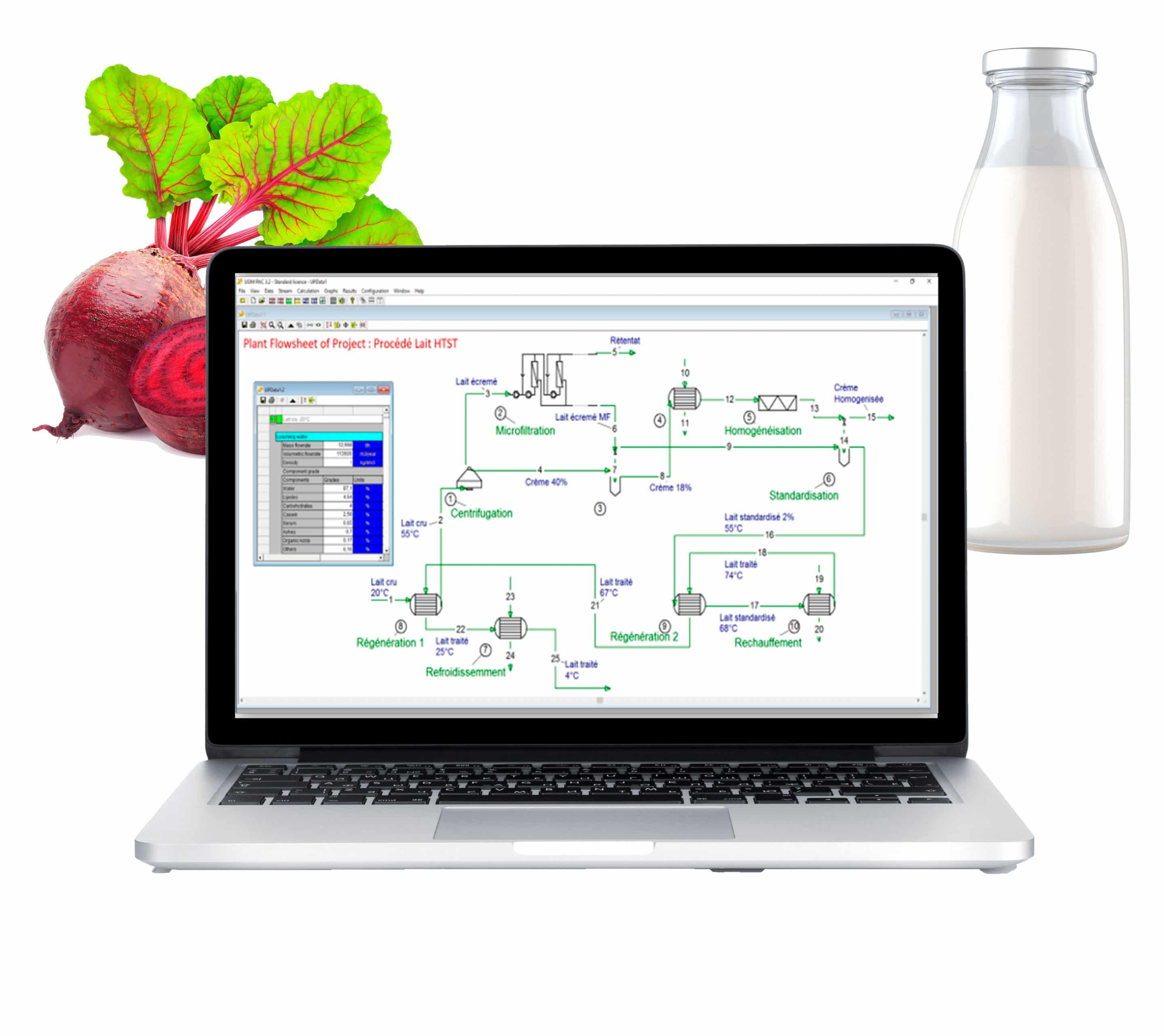 Process simulation software for dairy processing plants
