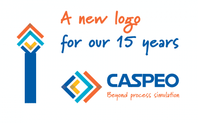 CASPEO dévoile son nouveau logo pour célébrer son 15e anniversaire. Let's go beyond process simulation !