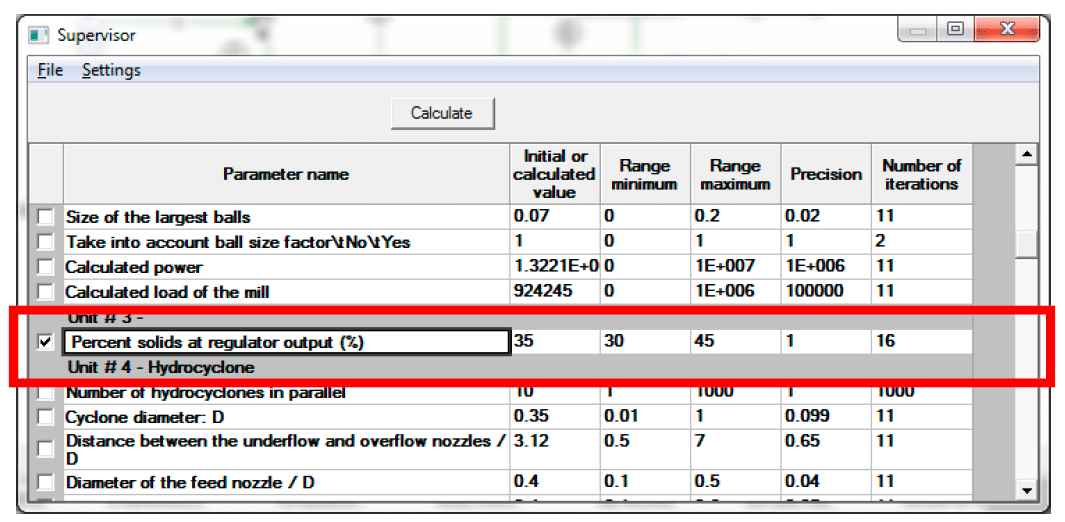 Screenshot USIM PAC process simulator - Selection of the soft actuator
